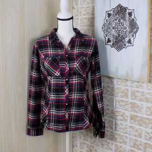 Maurices plaid pearl snap button down